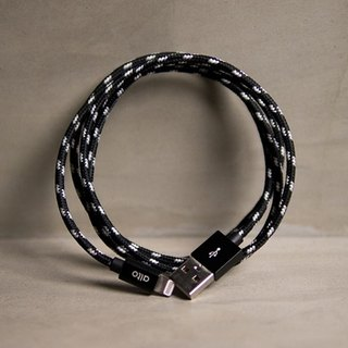 Alto Knitted Pattern Lightning Cable- Black/Metal Black (no laser engraving)