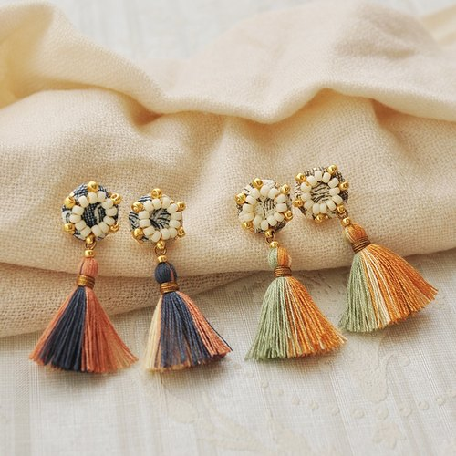 Rosette tassel earrings