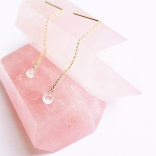 The top strong blue light halo moon drop ear K gold chain 14K GF necklace gift natural stone light jewelry crystal