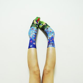 O+S=Circle Rain donuts&lollipop Blue sky and grass Double-sided Printed Socks