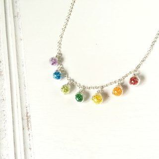 *Haku‧Neko*Rainbow Rainbow mini glass ball necklace