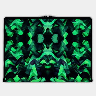Axis - Custom 3-Sided Zipper Laptop Sleeve - Abstract Surreal Chaos theory in Modern poison turquoise green
