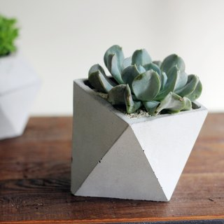 Cement/Concrete Geometric Triangulated Slant Planter