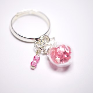 A Handmade glass pendant pink crystal ball ring