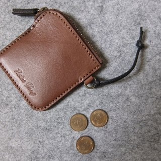 Handmade leather minimalist design small leather purse with dark wood ‧