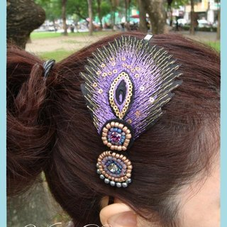 Val‧F peacock feather hair band headband purple indigo color national wind original