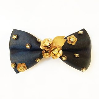 Three-dimensional metal flower crystal bow tie Bowtie