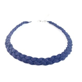 Dark blue - suede twist braid Necklace