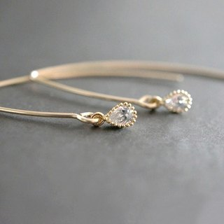 【14KGF】Simple Earrings,CZ Tiny Teardrop