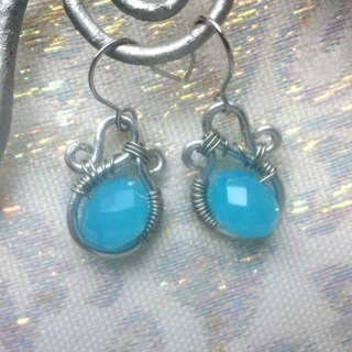 Wire Dance earrings - light blue protein notes