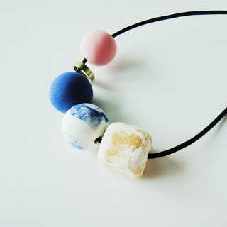 Clay Marble Necklace- gold, blue and pink