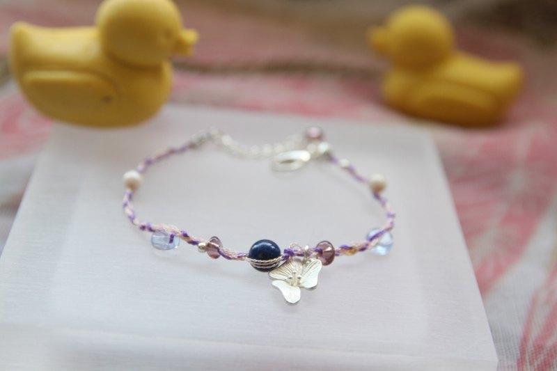 KNIT WITH LOVE French antique line lapis with silver orchid bracelet
