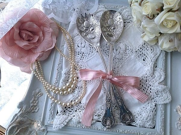 Annie crazy Antiquities ♥ vintage retro antique English silver plated gold and silver rose dimensional carved fruit salad spoon spoons tableware ~