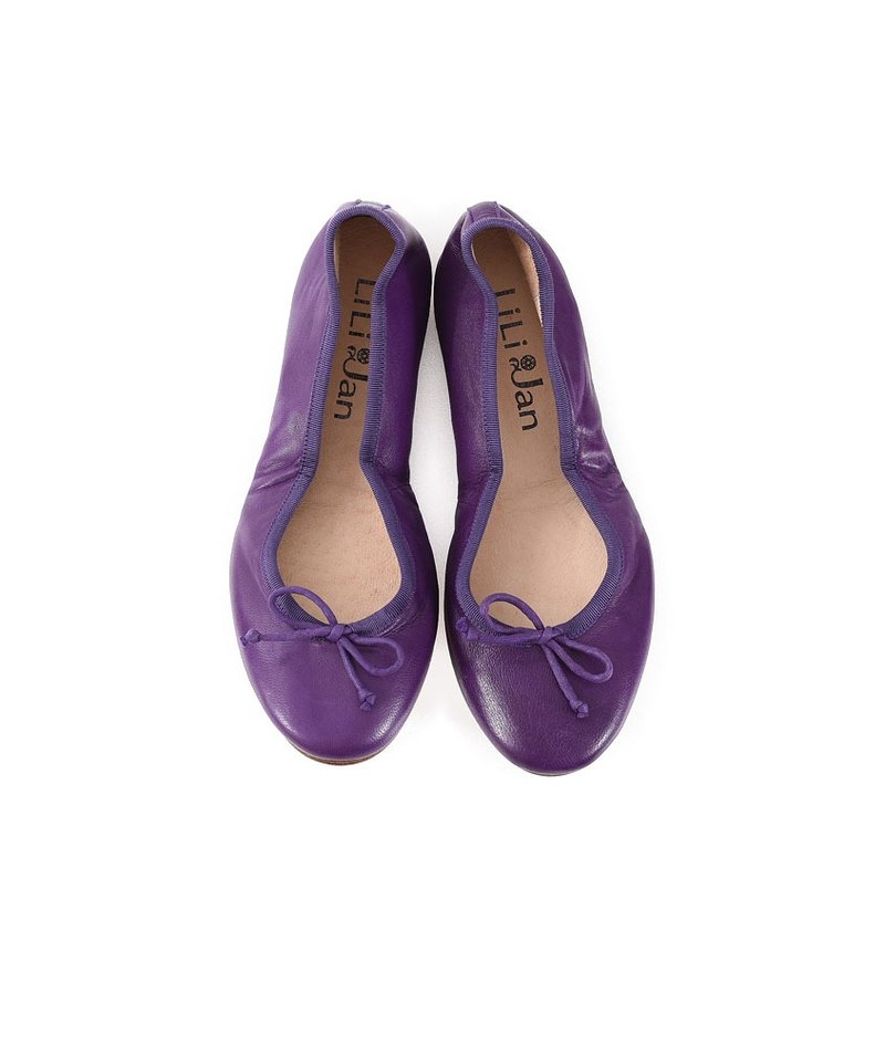 [French yearning] leather folding ballet shoes - Roland Purple