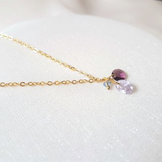 Hydrangea ‧ Amethyst crystal long necklace