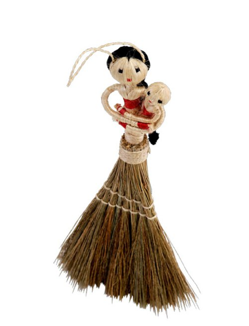 Earth tree handmade Fair trade -- Mabian woman holding a small broom