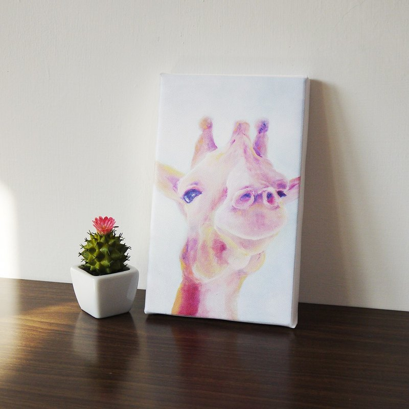 Smile series - pink giraffe replica painting