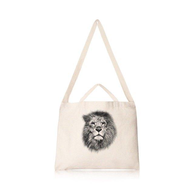 獅子 文創風橫式帆布包