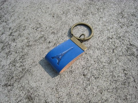 Gift / handmade leather strap _ in the key ring / custom imprinted C00_1