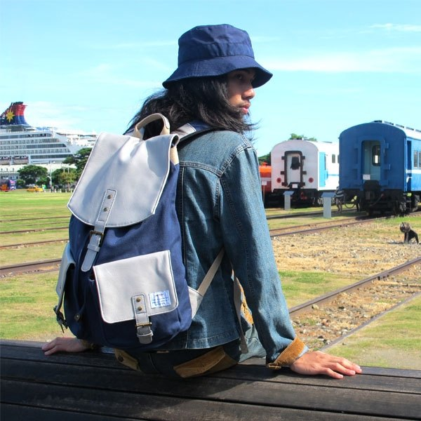 AMINAH-Japanese natural wind blue backpack [am-0249]