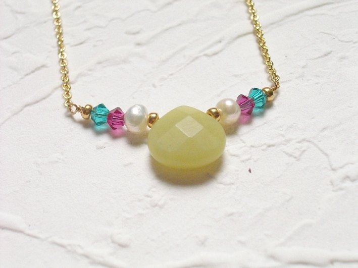 Harvest colorful semi-precious stones Crystal pearl short chain