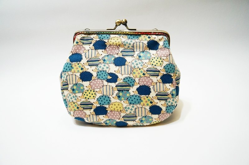 Hedgehog blue blue gold case / shoulder / side back / camera bag / cosmetic bag / sundries / large capacity