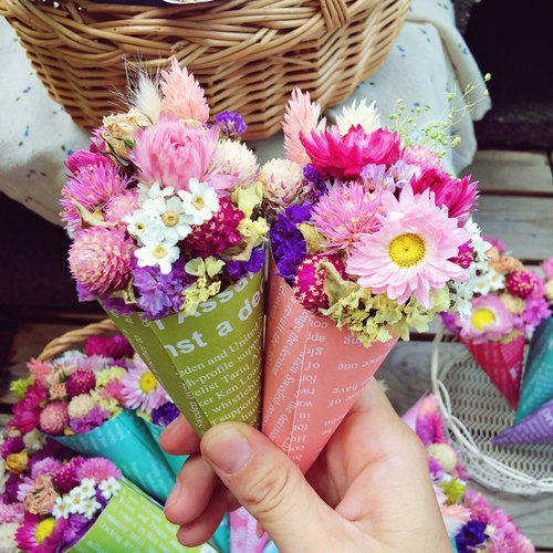 ❤ [eyebrows] ─ mini cones and dried flowers dried flowers ❤ small wedding was arranged wedding gift birthday gift EXPLORATION room photo outdoor photo small wedding bouquet