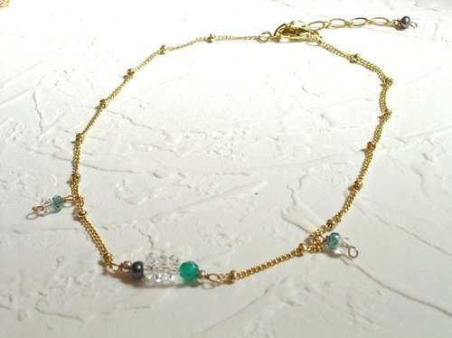 Refreshing green natural cut crystal anklet