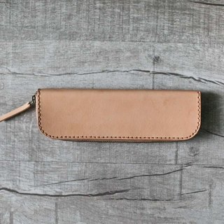 Nude color classy cow hide Leather Pencil Case