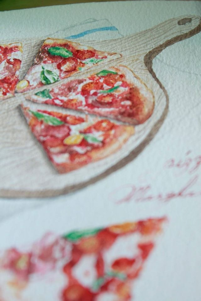 Food & Travel Hand Drawn Postcard - Margaret Pizza