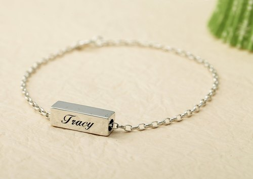 Custom Bracelet Cute Plate - Square Name English Text Bracelet 925 Silver Bracelet - ART64