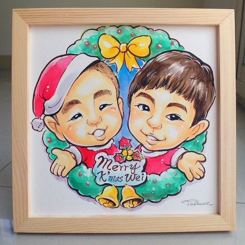 Like Yan painted _ watercolor hand-painted cartoon portrait _ double half-length portrait (with photo frame)
