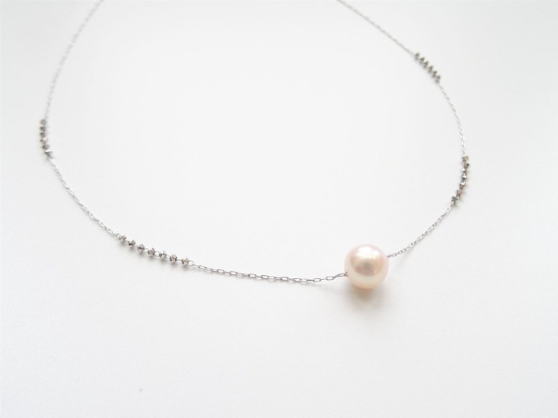 18K White Solid Gold Floating Akoya Saltwater Pearl Dainty Adjustable Necklace
