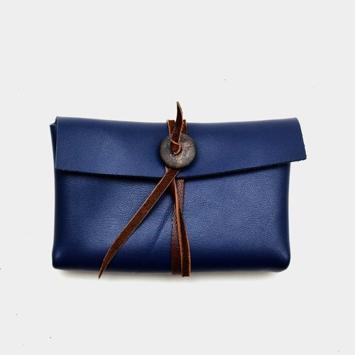 [Coconut cave proof] cowhide business card holder leather card clip leisure card holder change money package carved lettering when the gift blue leather
