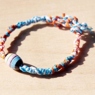 Valentine's Day gift colorful hand woven rope twist silk wax line - painted ocean ceramics (wire can pick color)