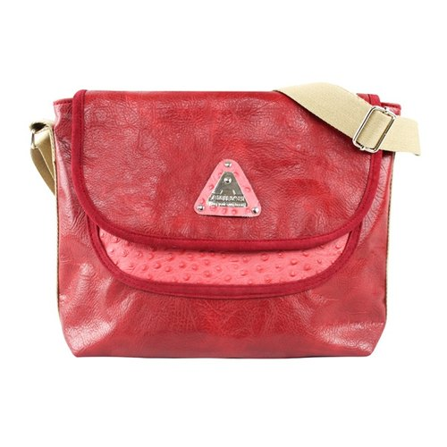 AMINAH- refurbished vintage Italian - real ostrich embossed leather casual shoulder bag - red [am-0239]