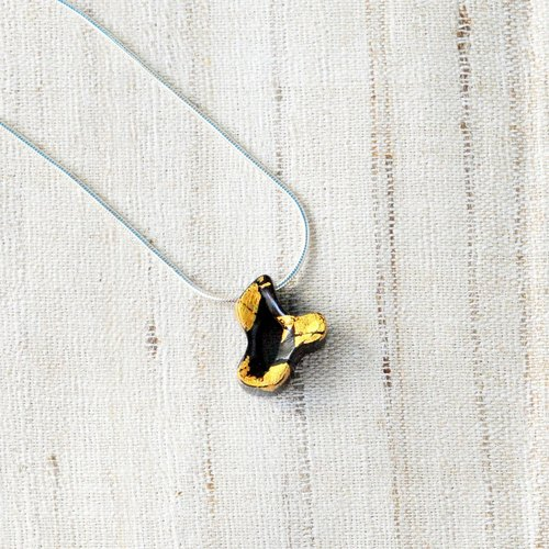 Unlimited Series - free | ebony, gold leaf, cashew lacquer | 18in inch silver chain