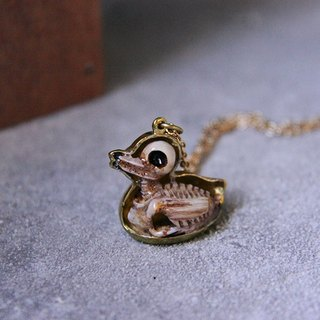 Anatomical of A Duck Skeleton Pendant with Hand-craft Painted Color Enamel / Jewelry / Necklace