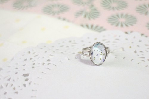 [Time] colored gemstone rings rain (oval)