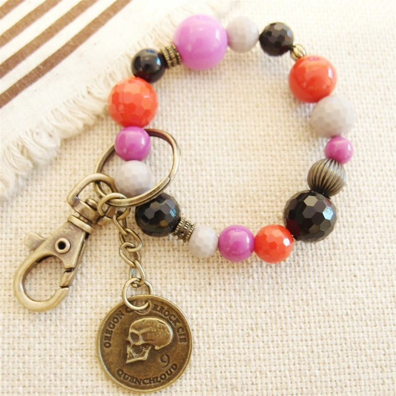 Tian Lou mind --- skeleton head beaded bracelet key ring