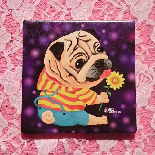 Ceramic absorbent coaster-Sunflower Pug