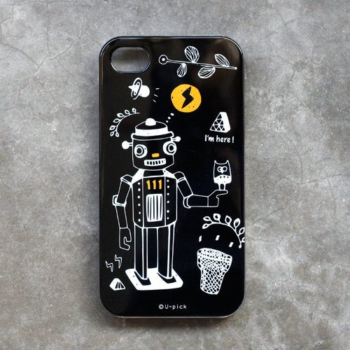 U-PICK original product-life Iphone 4 / 4s phone shell robot white / black protective shell robot