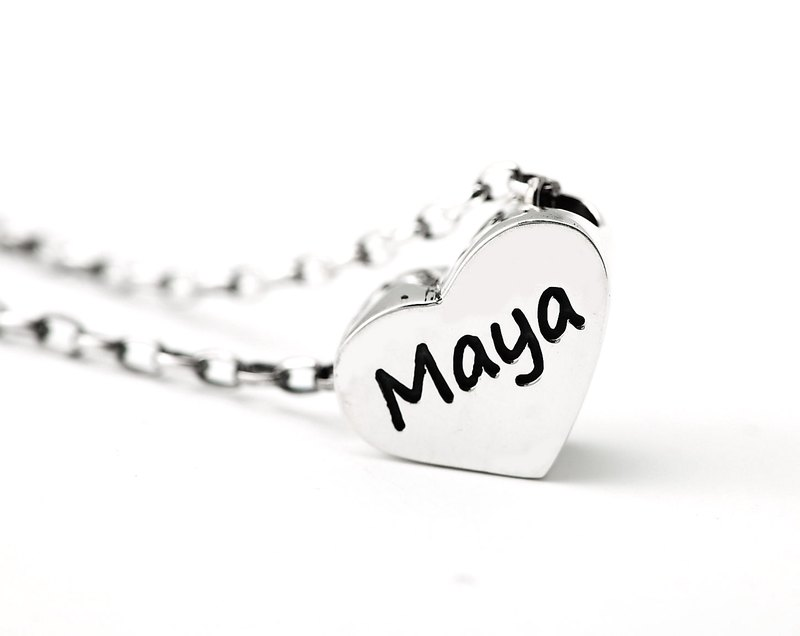 Custom Necklace Cute Plate - Small Love Name English Text Necklace 925 Silver Necklace - ART64