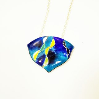 Rainy Day in Blue rain focussed enamel necklace (Lanye)