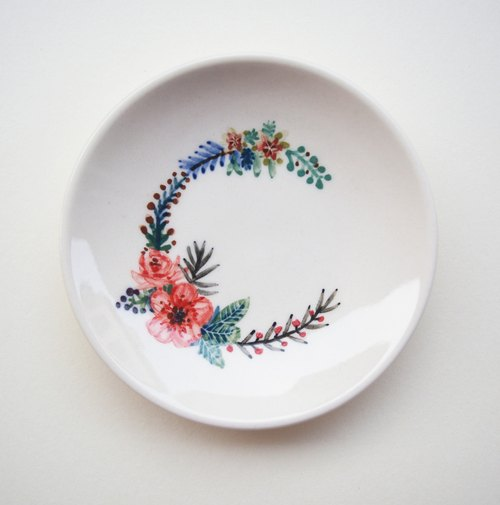 "Small hand-painted plates - the letter ""C"" (custom, name)"