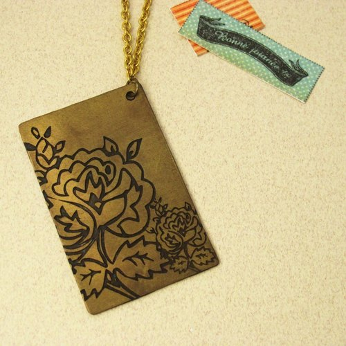 Begonia flower pattern flower handmade brass necklace -ART64