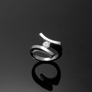 Jewelry Reshi / 3mm single diamond designer zircon ring / 925 sterling silver