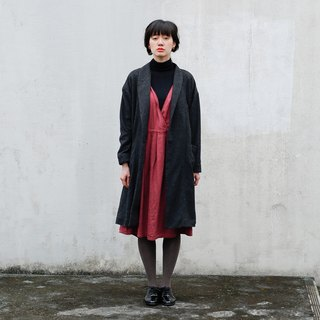 【Botanical dyed】  Hawthorn dyed wool cotton double gauze crossover dress