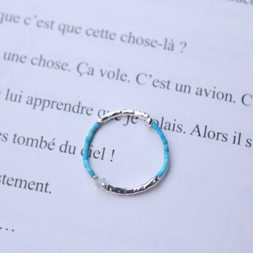 Journal (letters A- Around meticulous soft ring) - Silver hand made, top blue pine, Aquamarine
