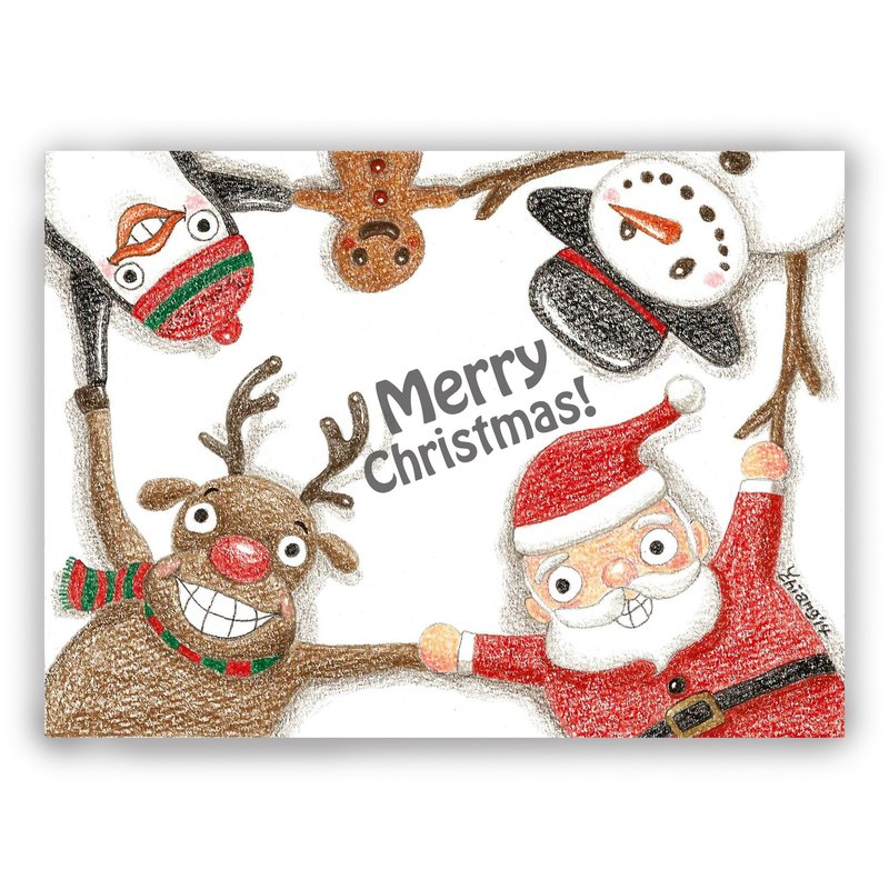 Christmas - hand drawn illustration universal card Christmas card / postcard / card / illustration card - Christmas hand in hand